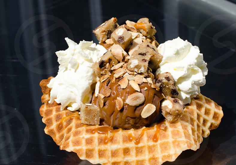 chocolate ice cream with nuts photo