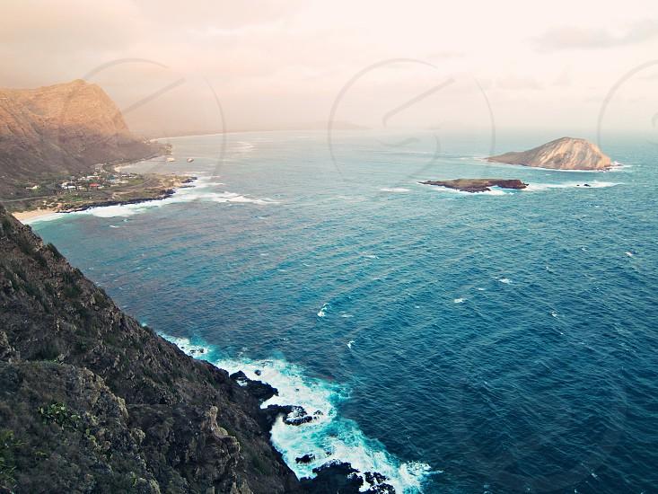 Oahu's coastline at sunrise photo
