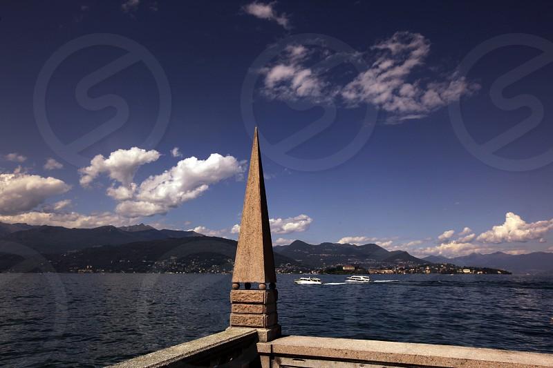 The isalnd of Isla Pescatori on the Lago maggiore in the Lombardia  in north Italy.  photo