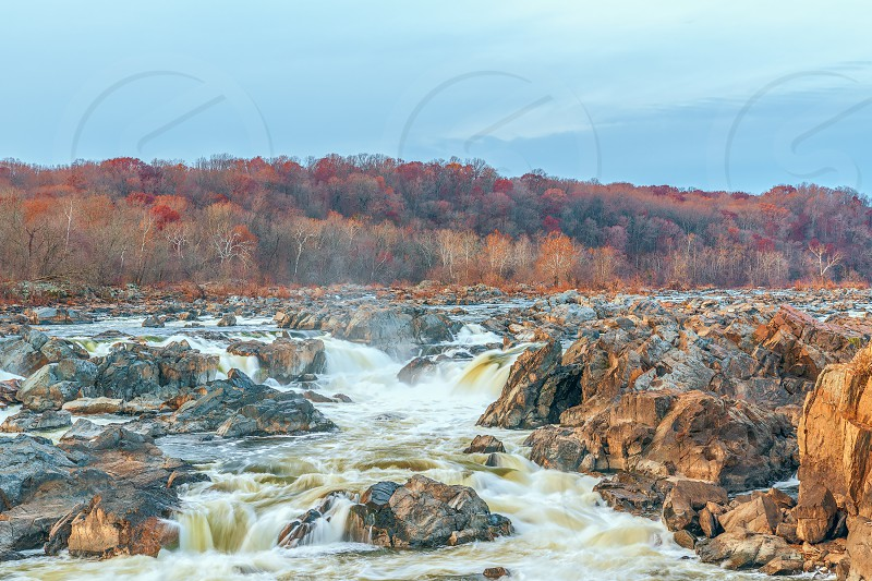 View of Great Falls of the Potomac River from Olmsted Island in autumn. Maryland. USA photo