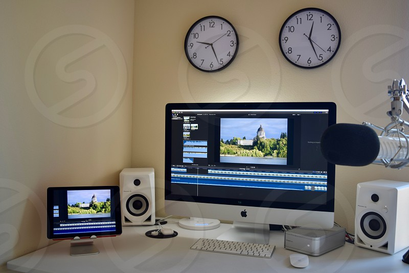Editing suite with hard drive backup. photo