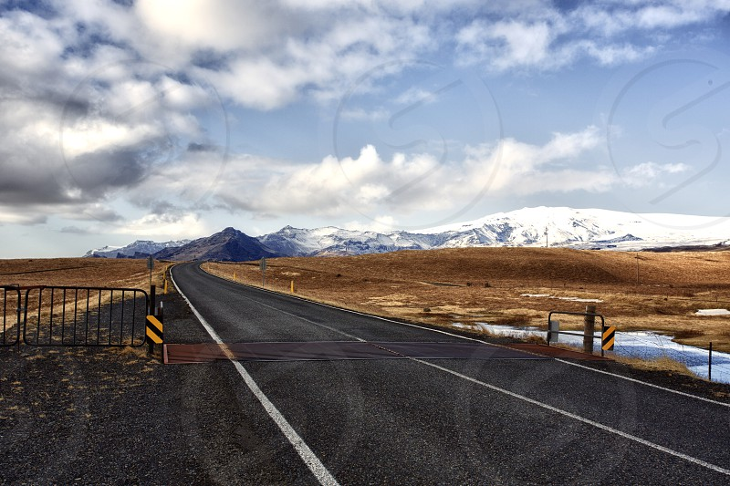 remote distance mountains road winter photo