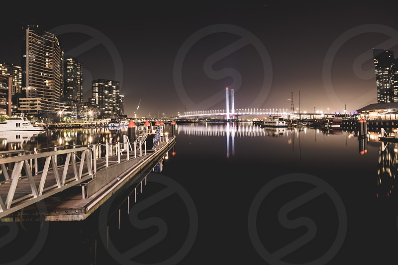 Melbourne Victoria Australiam winter nights winter Melbourne Winter movement blur night photography long exposure lee filters ND Filter Ian Jones Photography water bay river Yarra River Docklands pier bridge Bolte Bridge reflection reflections boat yacht boats yachting cruiser harbor pontoon photo