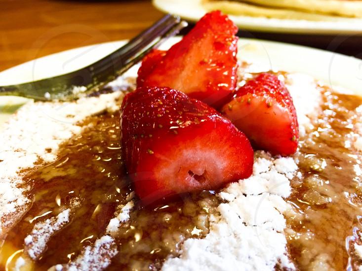 Fresh Strawberry pancakes at local restaurant in Gold Coast Australia. photo