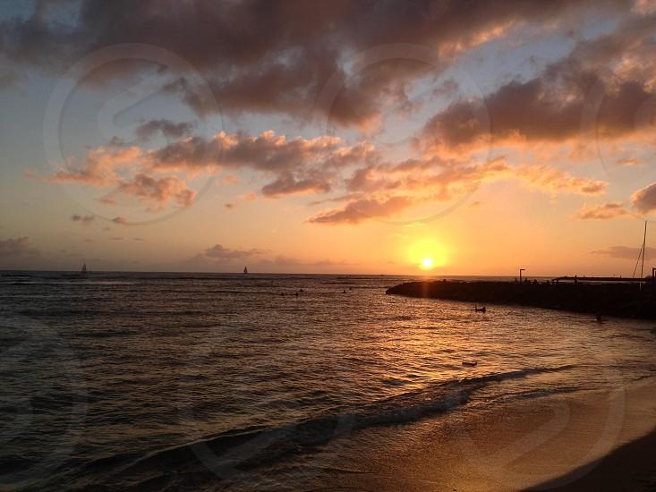 Sunset in Hawaii photo