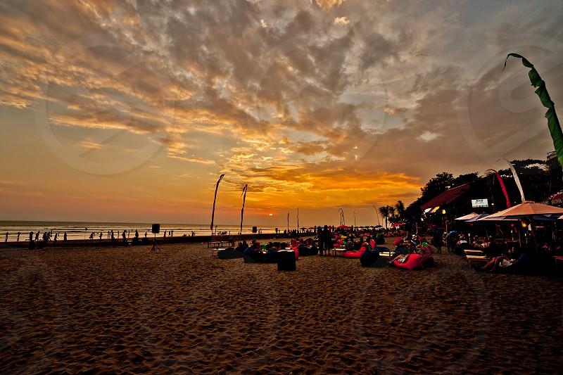 Legian Beach Sunset Legian Beach Bali Indonesia. photo
