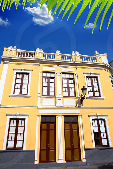 Santa Cruz de La Palma colonial street house facades in canary Islands photo