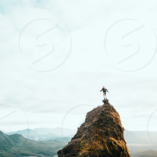 Girl mountain landscape nature balance risk photo
