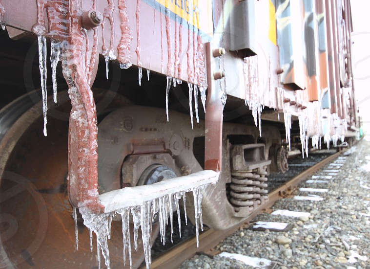 Icy step on a boxcar.  Photo taken in Dupont WA. photo