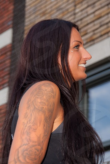 Woman girl tattoos strong Independed  photo