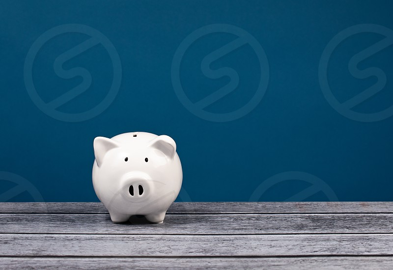 Cute white Piggy Bank over a blue and grey background. photo