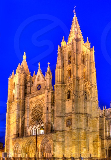 Cathedral of Leon sunset facade in Castilla at Spain photo