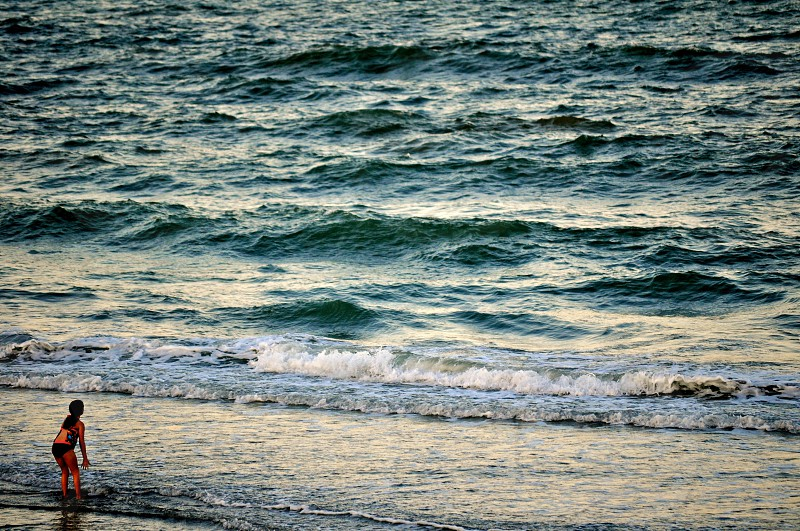 Girl plays in the waves - Myrtle Beach South Carolina USA photo