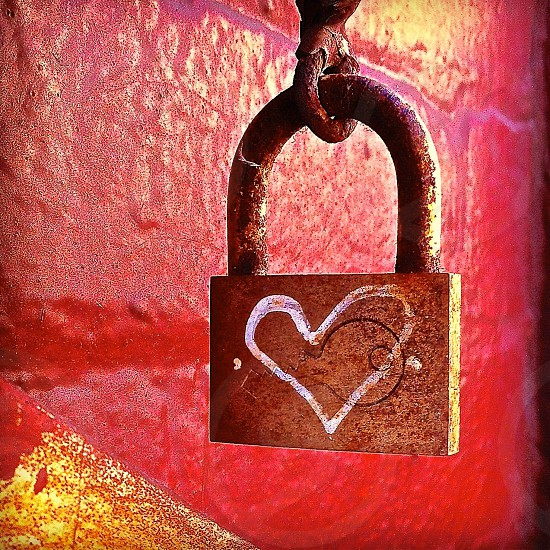 brown heart printed padlock photo