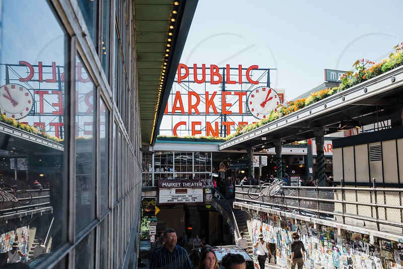 Signage of the Public Market Center in Seattle Washington photo
