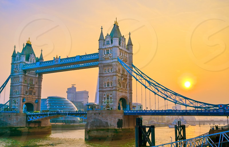 Tower Bridge across the River Thames in London UK. photo