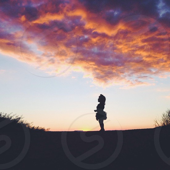 baby girl on ballet dress silhouette  photo