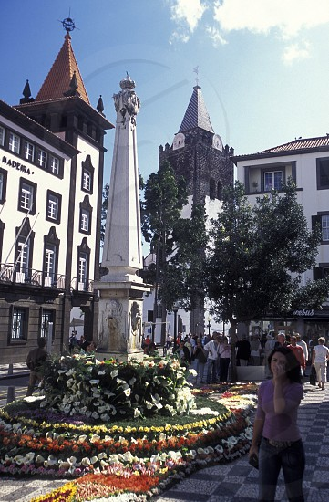 a square in  the old town of Funchal on the Island of Madeira in the Atlantic Ocean of Portugal. photo