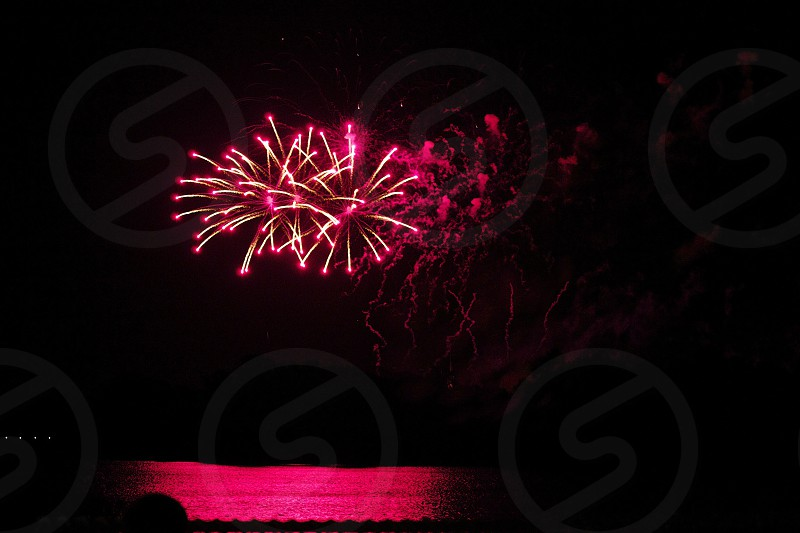 pink fireworks on display photo
