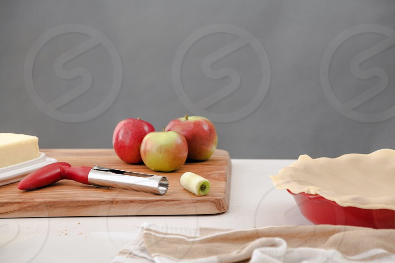 lifestyle food photography story about baking an apple pie photo