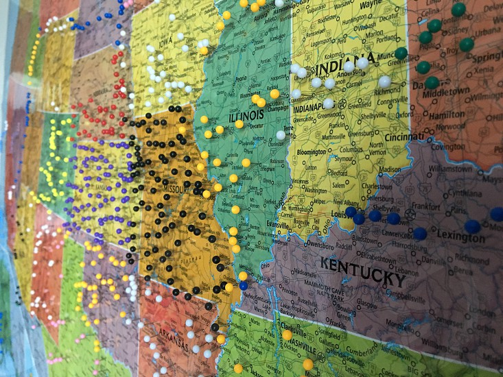 Map United States section pin mark photo