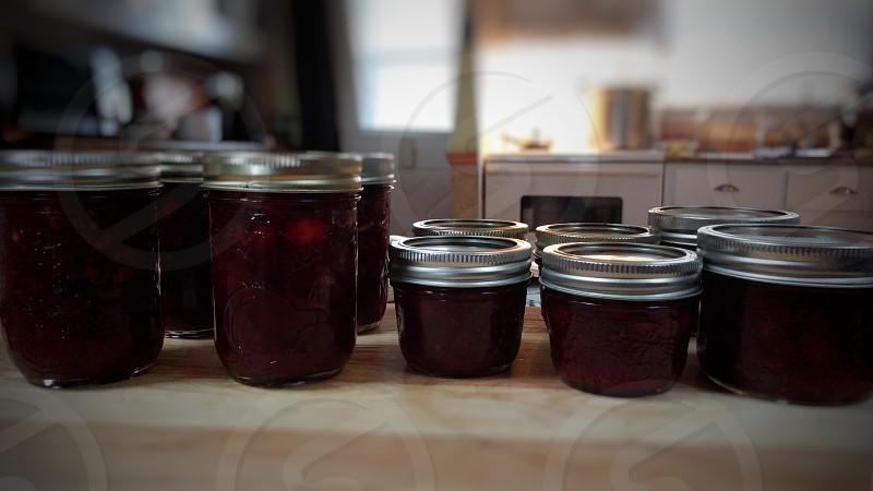 cranberry sauce mason jars red homemade preserves kitchen pantry landscape photo