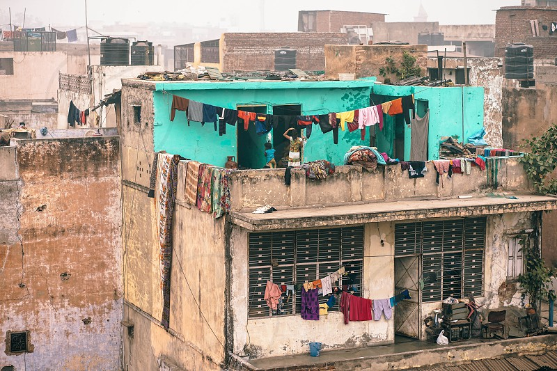 View over the neighborhood in Old Delhi photo