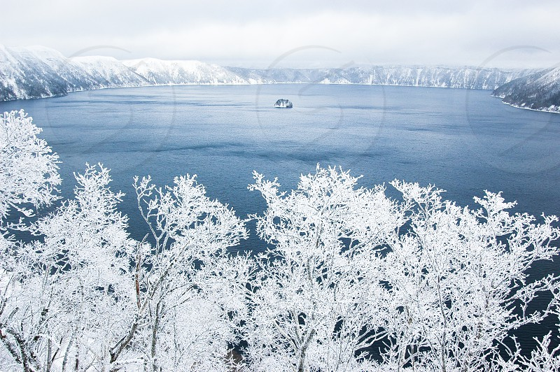 Lake Mashu and Rime ice in winter Hokkaido Japan photo