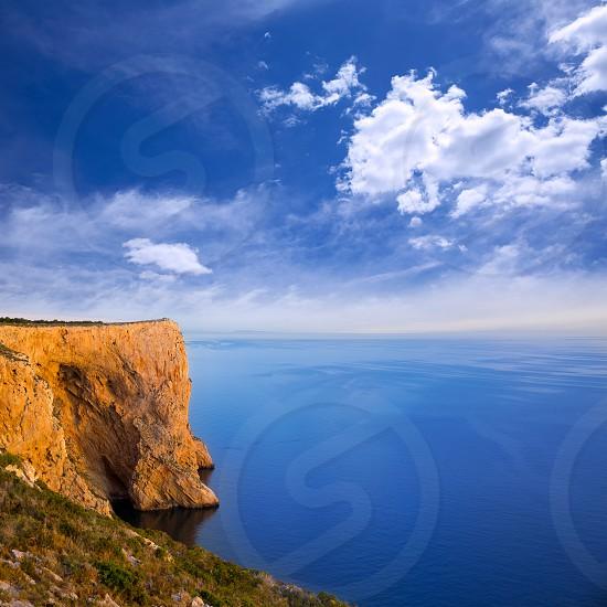 san  Antonio Cape high angle view of Mediterranean blue Sea in Denia Javea photo