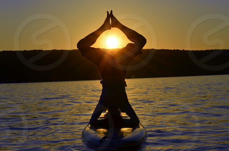 "meditation woman on kayak sunset peace love happiness ""may all beings be happy"" photo"