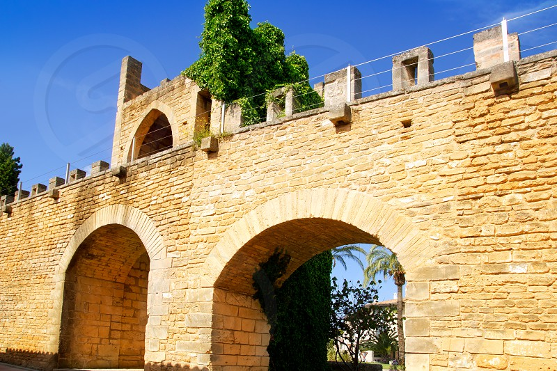 Alcudia puerta de la muralla in north Mallorca roman castle wall door photo