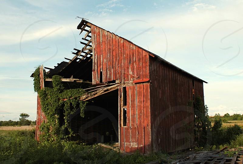 brown wooden barn on green grassy field photo