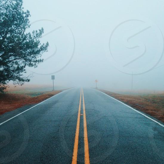 Road lines fog adventure photo