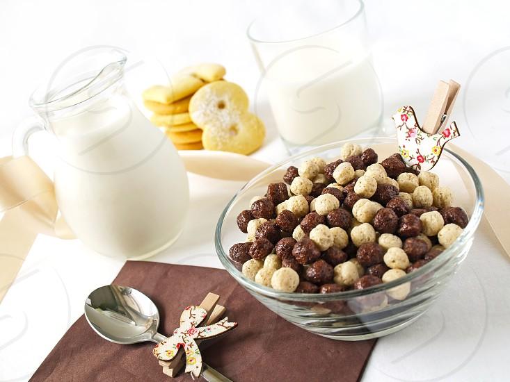 muesli breakfast cookies number milk home morning food healthy photo