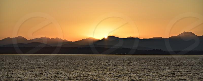 Olympic sunset panorama mountains seascape harmony photo