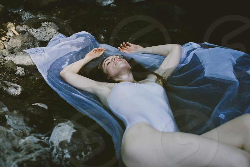 Woman water river wet body suit Seattle nature pnw redhead freckles vsco  photo