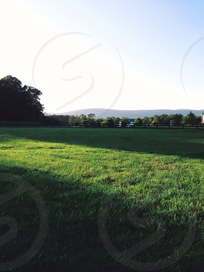 Low sun over the green field in the country. Mountain backdrop and clear skies. photo