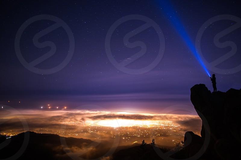 santa barbara night time stars sky clouds city city scape long exposure flash light photo