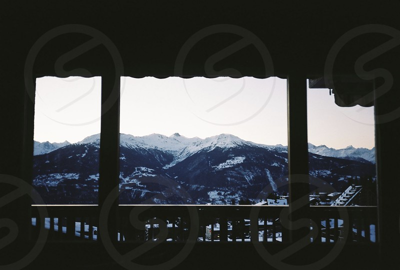 switzerland mountains porch view photo