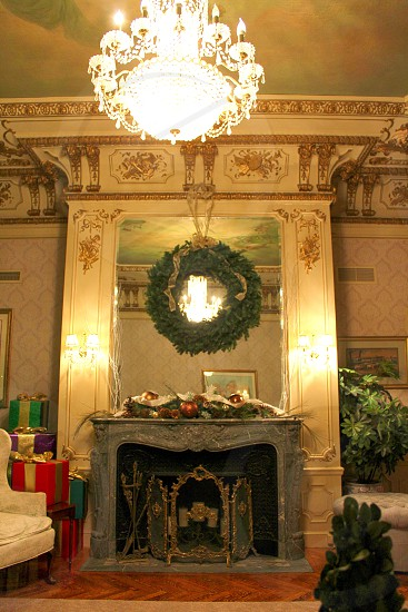 Louis XVI style parlor featuring; carved green marble fireplace mantle imported from France. photo