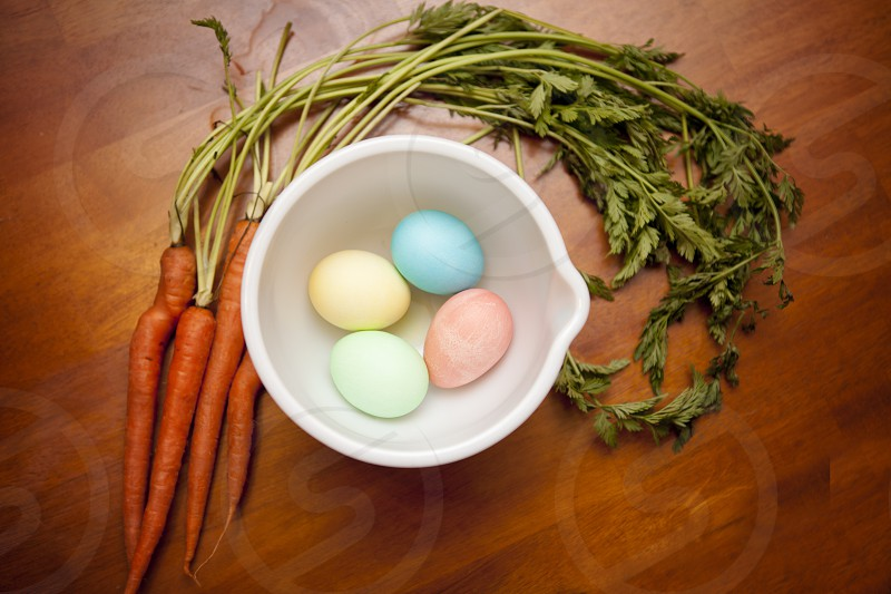 Carrots Easter dyed eggs Easter eggs colors photo
