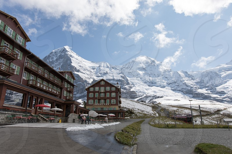 The hotel and restaurant at Kleine Scheidegg in Lauterbrunnen Switzerland photo