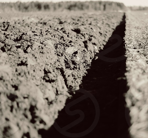 Dirt ditch in a triangle photo
