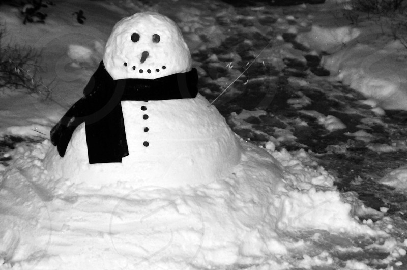 Black and white snowman photo