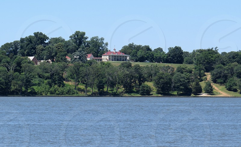 Mount Vernon home of George Washington from the Potomac River.  photo