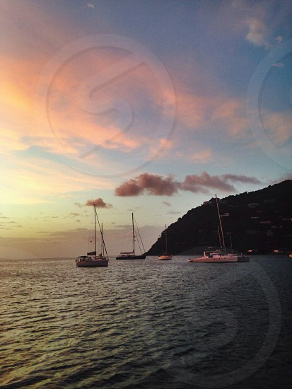 view of white sailboats on the sea photo