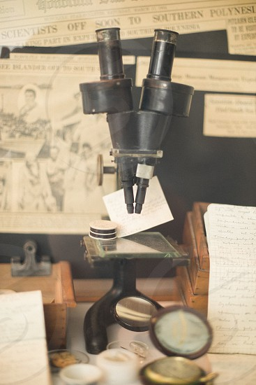 vintage microscope  photo