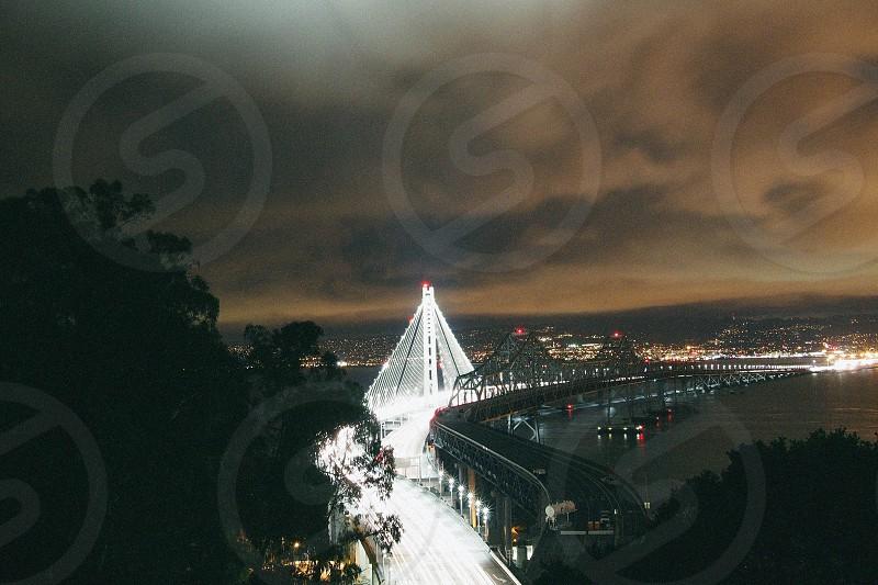 city and bridge lights at night photo photo