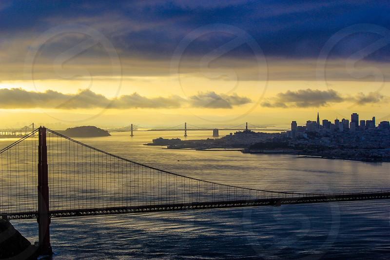 golden gate bridge on blue water photo