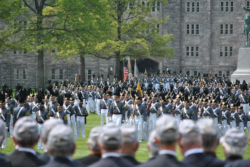 Veterans observing the 2013 Graduating class of West Point Military Academy photo